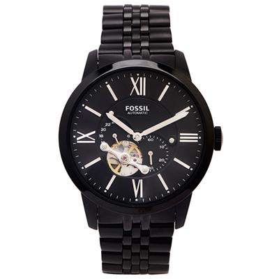 FOSSIL 黑色霸氣款的簍空機械手錶(ME3062)-黑面X黑色/44mm