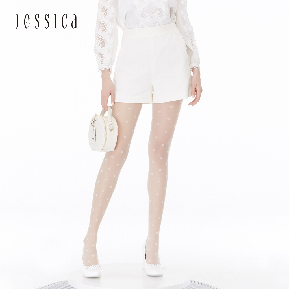 JESSICA - 白色清新百搭粗花呢短褲