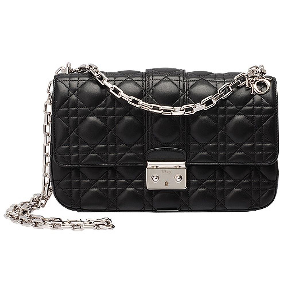 Dior Miss Dior菱格壓紋小羊皮銀鍊斜背包(黑-中)