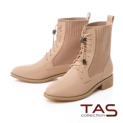 TAS異材質拼接綁帶束口短靴-百搭膚