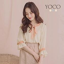 東京著衣-YOCO 氣質典雅公主領結荷葉袖上衣-S.M.L(共三色)