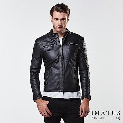 INTIMATUS 真皮 騎士風立體剪裁格紋設計小羊皮皮衣 經典黑