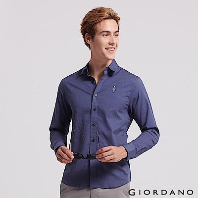 GIORDANO 男裝經典刺繡彈力牛津紡長袖襯衫-62 海軍藍