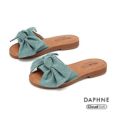 達芙妮DAPHNE 涼鞋-大方甜美蝴蝶結飾平底拖鞋-綠色