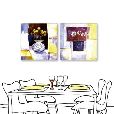 24mama掛畫-二聯式 藝術抽象 花卉 油畫風無框畫 50X50cm-溫暖