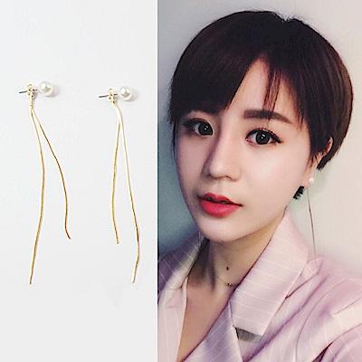 梨花HaNA 韓國S925銀針美麗迴想珍珠流蘇耳環金色