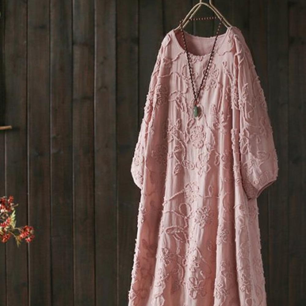 扎花刺繡純棉中長洋裝-設計所在