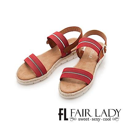 Fair Lady 鬆緊寬帶一字厚底涼鞋 紅