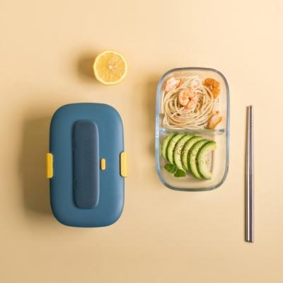 Dagebeno荷生活 北歐風精致玻璃保鮮盒 附餐具可微波密封扣帶設計