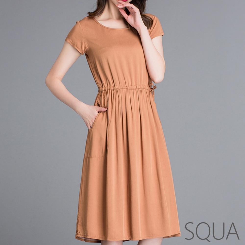 SQUA 圓領繫帶收腰洋裝-三色-(M~XL)