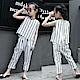 小衣衫童裝    中大童假2件蕾絲背心+直條紋中褲套裝1070515
