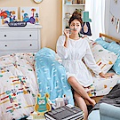 戀家小舖 / 雙人床包枕套組  點點善-純真天賦  100%精梳棉  台灣製