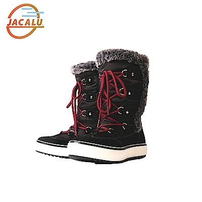 Jacalu 高筒布面雪靴2742.4/J 黑色