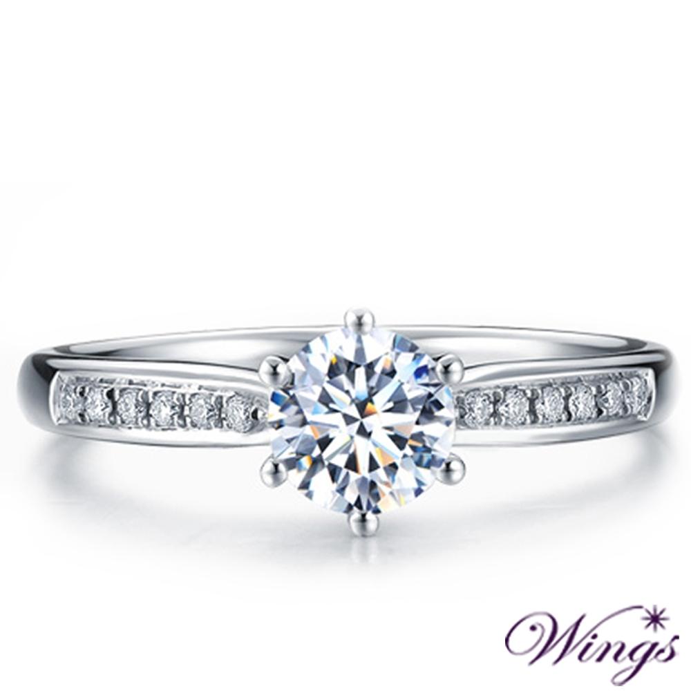 【WINGS】甜蜜告白 進口八心八箭擬真鑽50分925純銀精鍍白K金戒指(女戒 擬真鑽 情人 聖誕禮物 純銀)