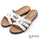 DIANA 1.8cm 質感牛皮幾何線條金屬鉚釘釦飾涼拖鞋-夏日風情-白 product thumbnail 1