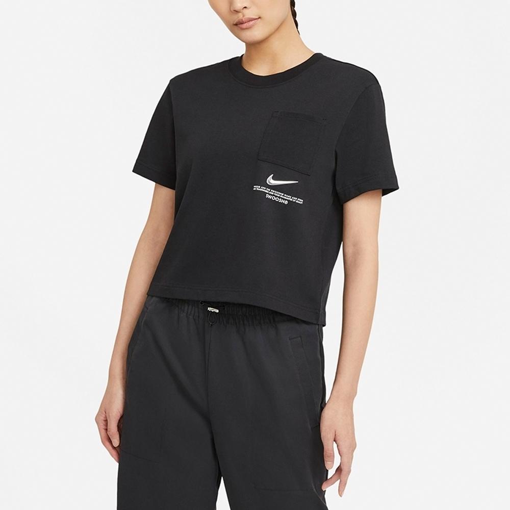 Nike Sportswear Swoosh 女短袖上衣 短版-黑-CZ8912010