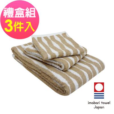日本今治  純天然有機棉無染色方毛浴巾禮盒組-海波紋-秋香綠