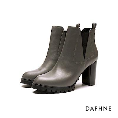 達芙妮DAPHNE 短靴-牛皮彈性異材質拼接高跟短靴-灰