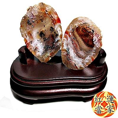 紅運當家 天然水晶瑪瑙聚寶盆(一對)+木座(含座97公克)