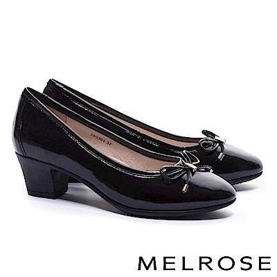 高跟鞋 MELROSE 經典百搭甜美蝴蝶結軟漆皮高跟鞋-黑