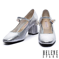 高跟鞋 HELENE SPARK 奢華珍珠復古方頭瑪麗珍高跟鞋-銀