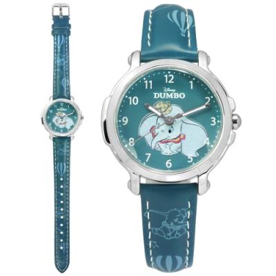 Disney 迪士尼 小飛象 Dumbo 日本機芯 兒童 卡通錶 皮革手錶-藍色/32mm