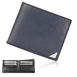 Calvin Klein 經典鐵牌LOGO防刮多卡短夾-深藍色