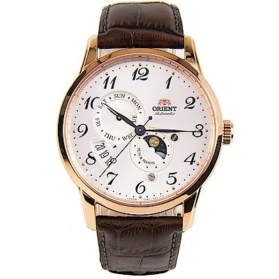 ORIENT 日月相自動機械腕錶皮帶(RA-AK0001S00B)-玫金框x42mm