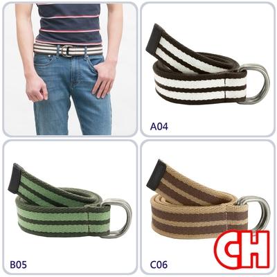CH-BELT織帶純棉D型環休閒運動皮帶腰帶(多色)