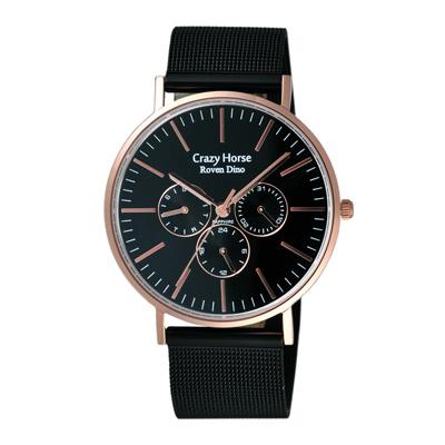 Roven Dino羅梵迪諾 永恆光彩輕薄三眼米蘭腕錶-黑鋼X玫瑰金