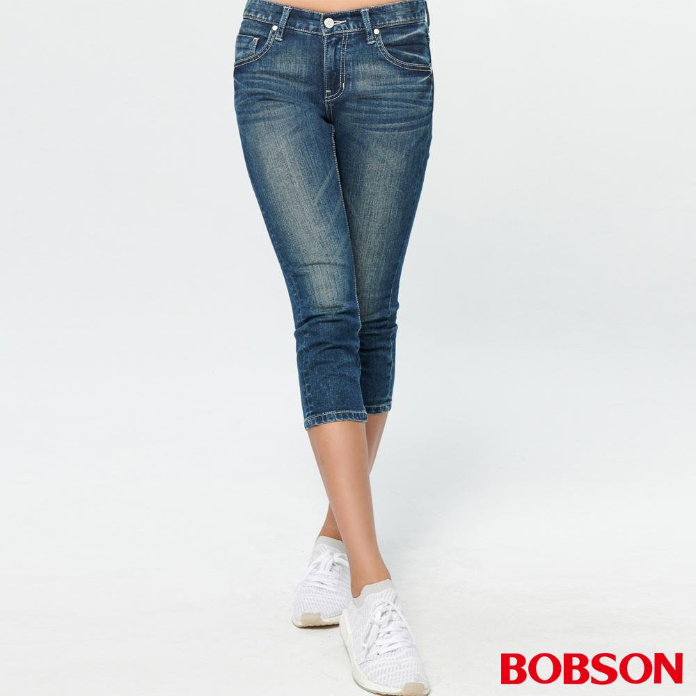 BOBSON 女款低腰涼爽紗牛仔七分褲