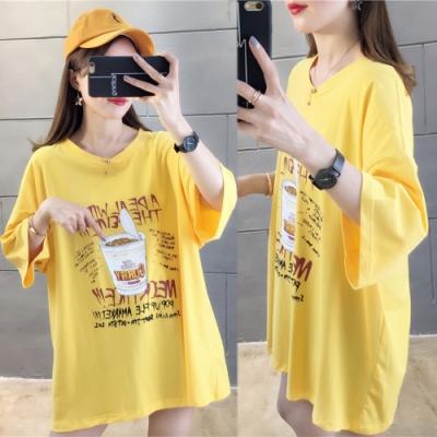 【韓國K.W.】韓國青春俏皮可愛印花上衣-2色