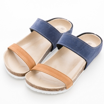 River&Moon拖鞋 台灣製撞色雙帶休閒拖鞋 藍