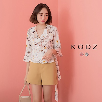 東京著衣-KODZ 清新甜美荷葉袖綁帶魚尾翻領上衣-S.M.L(共兩色)