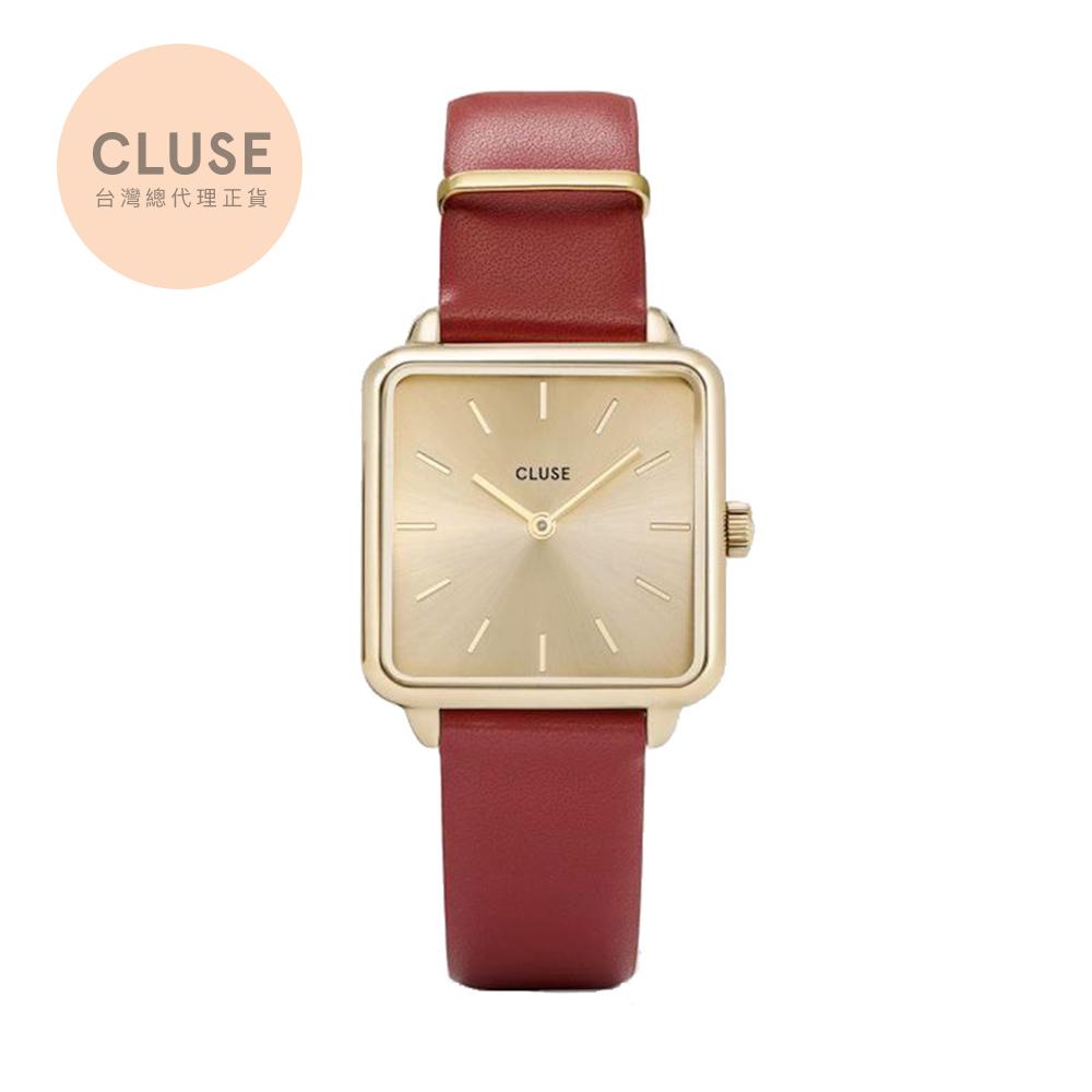 【公司貨】CLUSE La Tetragone 金系列腕錶 (金框/金錶面/月光紅)