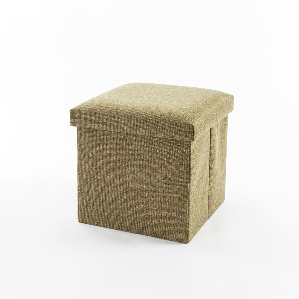 樂嫚妮 棉麻折疊收納椅凳/穿鞋凳/收納箱-27L-綠
