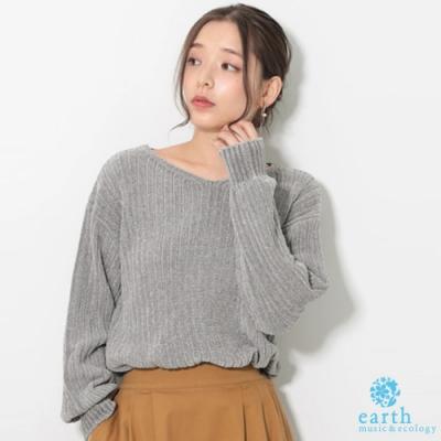 earth music V領落肩針織上衣