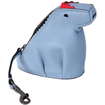 COACH REXY水藍全皮立體恐龍造型掛式零錢包
