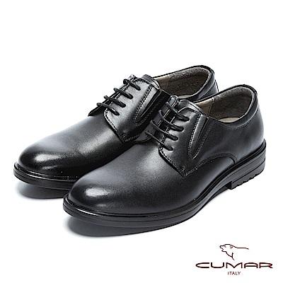 CUMAR 輕量舒適 真皮綁帶上班鞋-黑