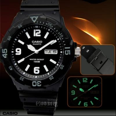 CASIO 卡西歐 潛水勇者‧簡潔時標超強防水腕錶-黑/灰