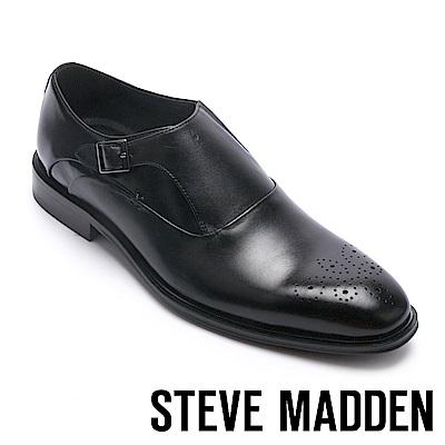 STEVE MADDEN-NEILSON 真皮扣帶飾男士牛津鞋-黑色