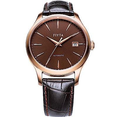 FIYTA飛亞達 經典系列復古機械錶(WGA1010.PSR)玫瑰金/咖啡色錶盤-42mm