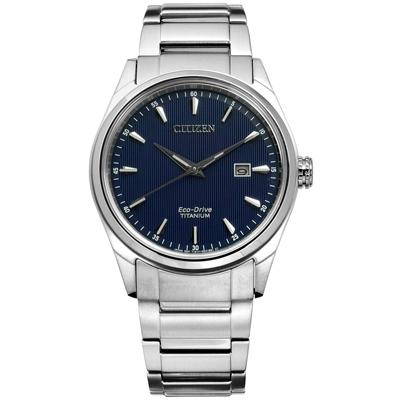 CITIZEN 星辰表 光動能日期防水100米鈦金屬手錶-藍色/40mm