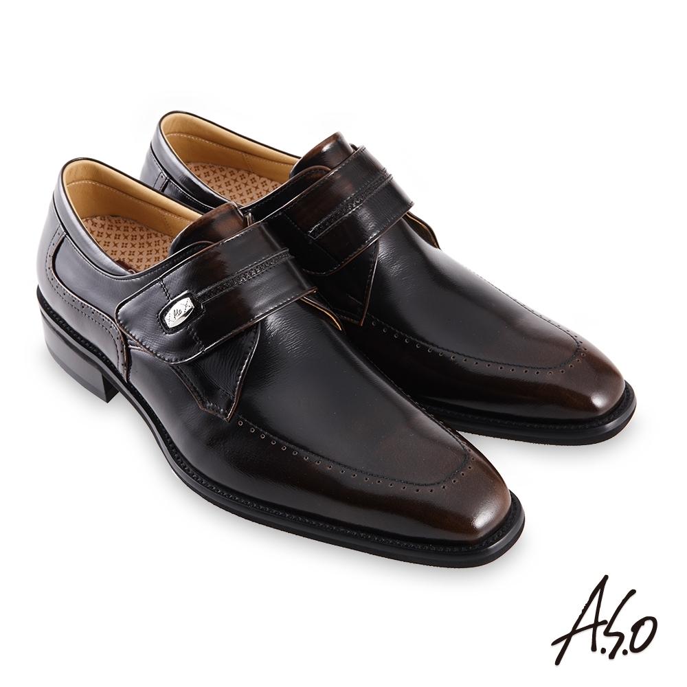 A.S.O 職場通勤勁步健康鏡面魔鬼氈紳士鞋-茶
