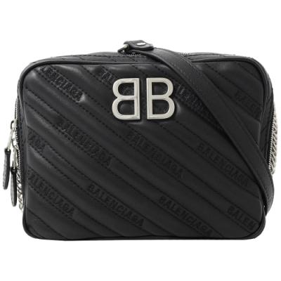 BALENCIAGA BB金屬LOGO電繡字體壓紋斜背相機包(黑)