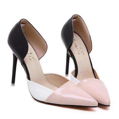 KEITH-WILL時尚鞋館 韓系性感拼色尖頭高跟鞋-粉色
