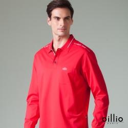 oillio歐洲貴族 男款 長袖透氣POLO衫 全棉彈力萊卡 簡約口袋 紅色