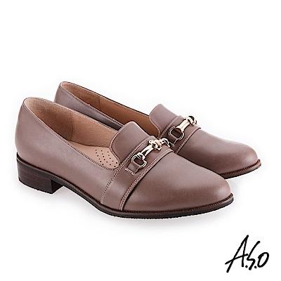 A.S.O 新式復古 嚴選皮質鞋面條帶低跟鞋 灰褐