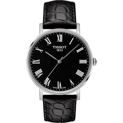 TISSOT 天梭 Everytime 羅馬經典手錶-黑/38mm