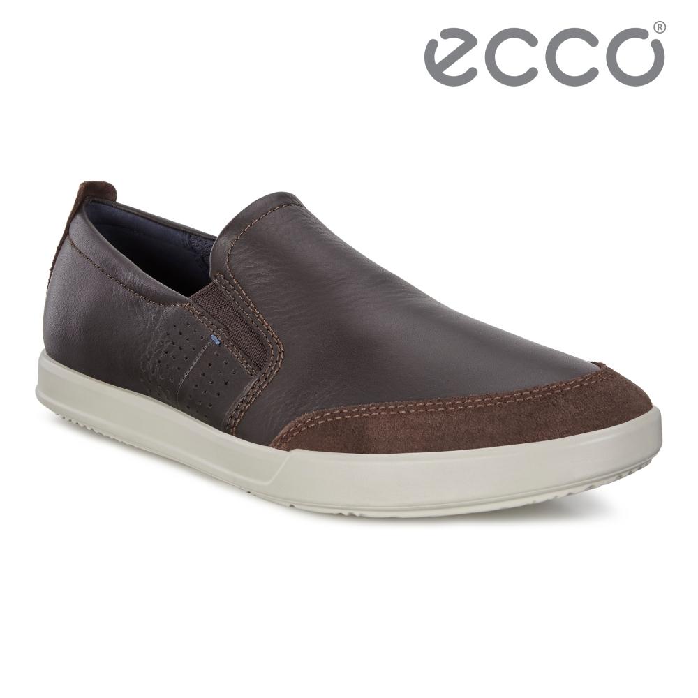 ECCO COLLIN 2.0 時尚拼接素色套入式休閒鞋 男鞋 咖啡色